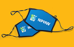 two blue face masks with NPHW logo
