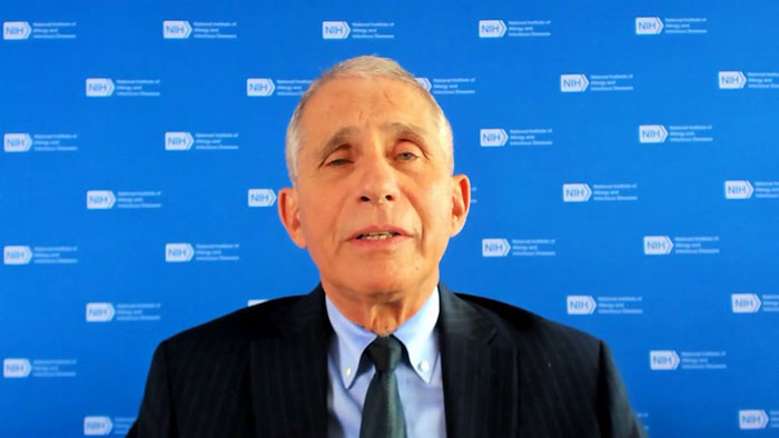 Anthony Fauci with NHI Zoom background