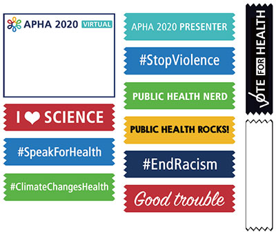 Printable APHA 2020 badge and colorful public health ribbons