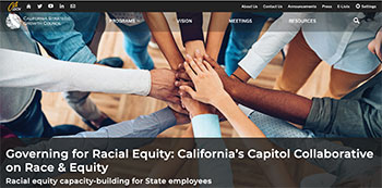 Governing for Racial Equity website homepage outstretched hands joined