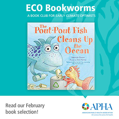 ECO Bookworms cover of Pout Pout Fish Cleans Up the Ocean, APHA logo