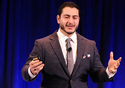 Abdul El-Sayed speaking on stage