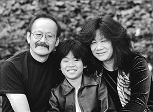 Elena Ong with husband and young son