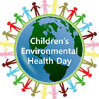 logo, Children's Environmental Health Day, colored figures holding hands around globe