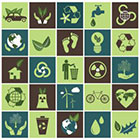 collage of ecology icons such as hands holding leaves, footprints, a globe, the recycle symbol